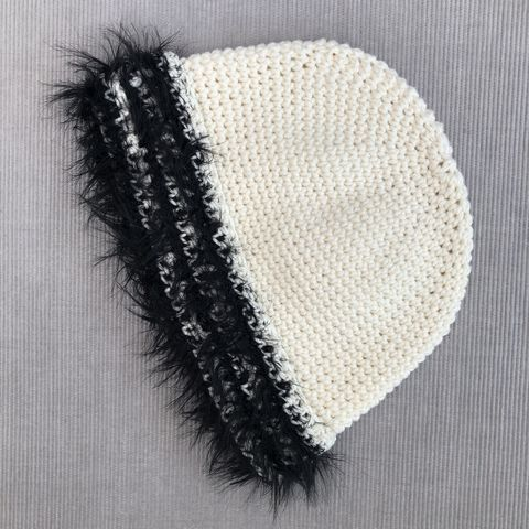 Cream,baby/toddler,beanie,hat,with,black,fur,effect,brim,Baby hat, toddler hat, beanie hat, cream, fur brim, contemporary, modern, trendy, bowler hat, winter hat, girls hat, cotton hat, wool hat