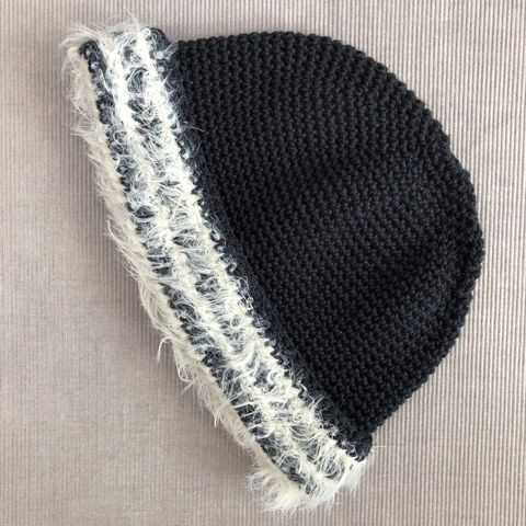 Black,baby/toddler,beanie,hat,with,cream,fur,effect,brim, Baby hat, toddler hat, beanie hat, cream, fur brim, contemporary, modern, trendy, bowler hat, winter hat, girls hat, cotton hat, wool hat