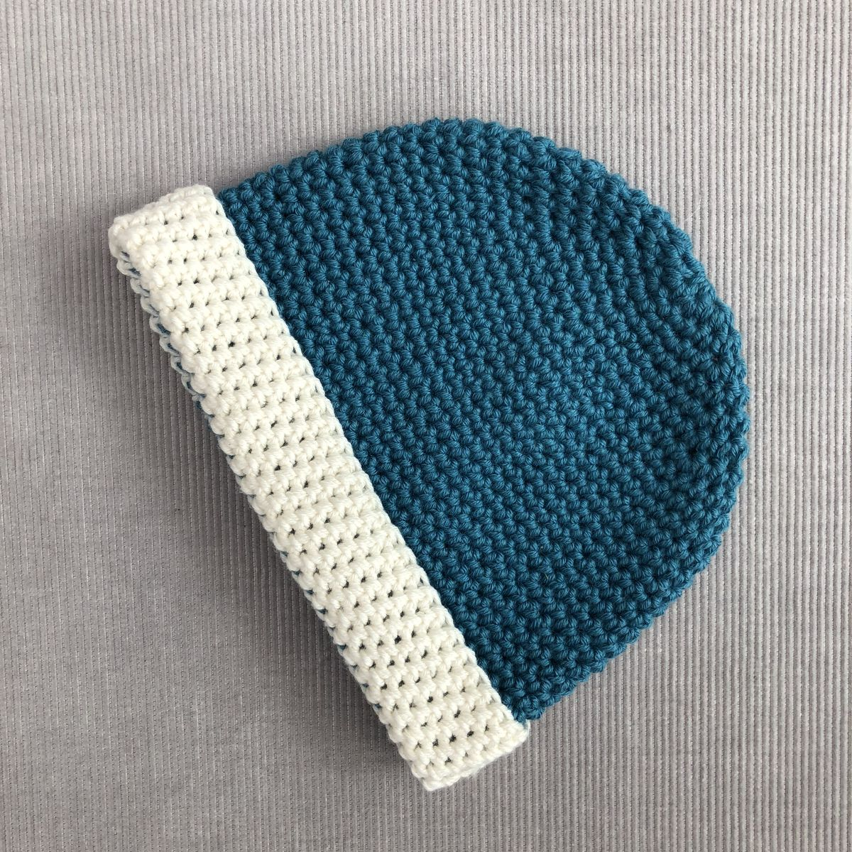 Baby, toddler beanie hat, teal blue/green and cream - product images  of