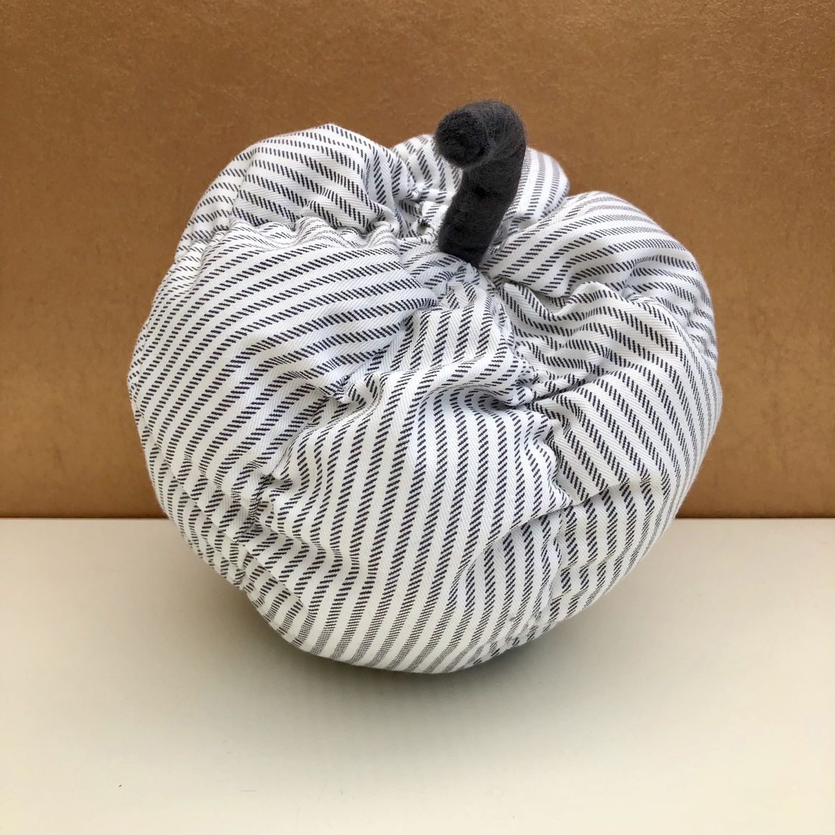 Decorative patterned pumpkin - grey stripes - product images  of