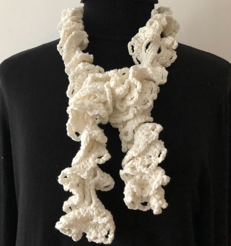 Off,white,ruffle,scarf,in,vegan,friendly,yarn,Ruffle scarf, vegan, vegan friendly, vegetable yarn, cotton, ladies scarf, pretty, cream, evening scarf, gift, Mother's Day gift,