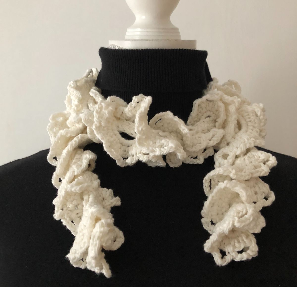 Off white ruffle scarf in vegan friendly yarn - product images  of