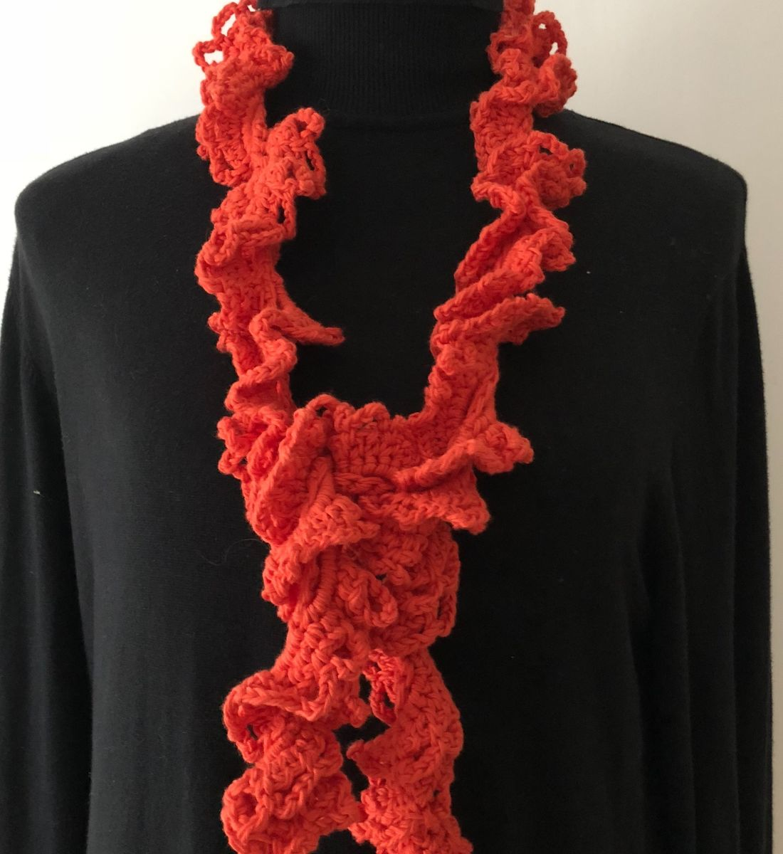 Orange red ruffle scarf in vegan friendly yarn - product images  of
