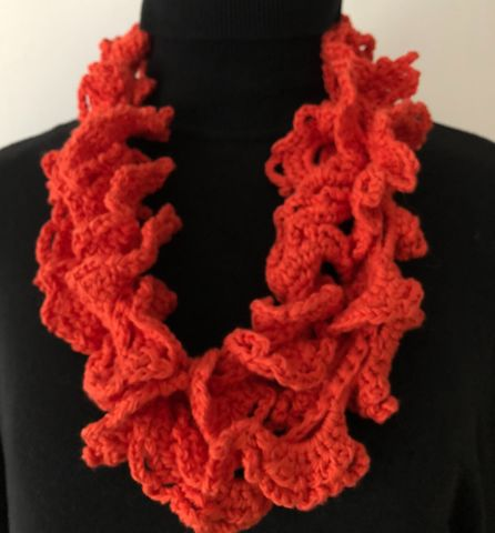 Orange,red,ruffle,scarf,in,vegan,friendly,yarn,Ruffle scarf, vegan, vegan friendly, vegetable yarn, cotton, ladies scarf, pretty, cream, evening scarf, gift, Mother's Day gift,