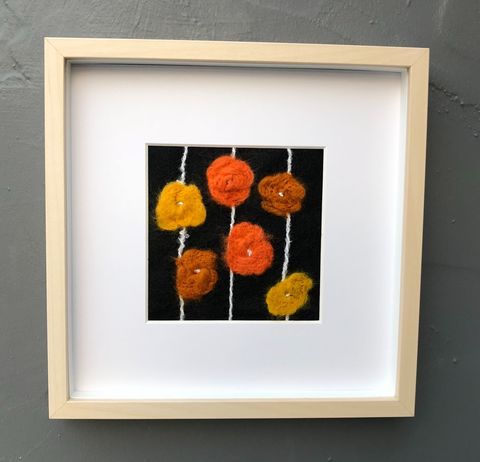 Autumn,flowers,Contemporary Painting, art, textile, fibre, flowers, autumn colours, monochrome, felt, contemporary, abstract, mustard, orange, copper