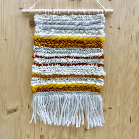 Mustard,and,cream,-,woven,wall,hanging,Contemporary art, abstract art, woven art, woven wall hanging, tapestry, wallhanging, decor, home, style, boho, stylish, handmade, unique,