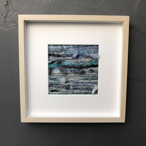 Abstract,seascape,-,sea,green,and,blues,Contemporary Painting, stripes, landscape painting, contemporary art, textile art, monochrome, felt, contemporary, abstract, copper