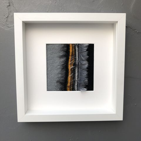 Monochrome,,grey,and,mustard,lines,Contemporary Painting, stripes, landscape painting, contemporary art, textile art, monochrome, felt, contemporary, abstract, copper