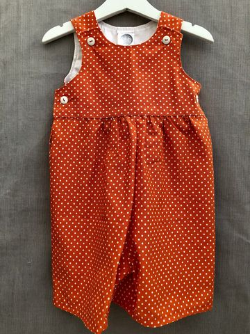 Baby,,toddler,shortalls,-,orange/cream,polka,dots,Orange, polka dots, shortalls, autumn fashion, winter fashion, romper suit, rompers, play suit, toddler fashion, baby fashion, trendy, corduroy, playsuit