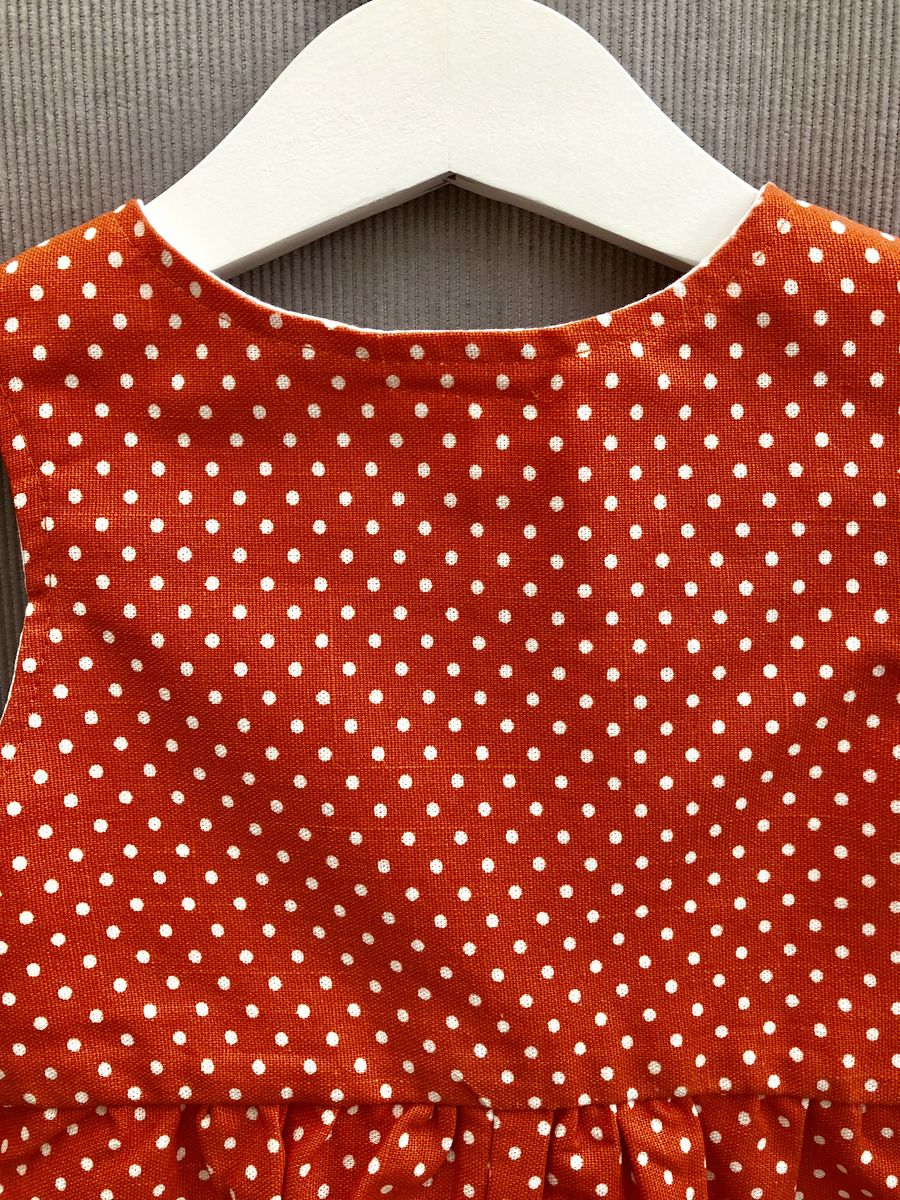 Baby, toddler shortalls - orange/cream polka dots - product images  of
