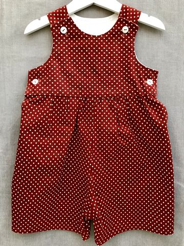 Baby,,toddler,shortalls,-,dark,copper/cream,polka,dots,Green, polka dots, shortalls, autumn fashion, winter fashion, romper suit, rompers, play suit, toddler fashion, baby fashion, trendy, corduroy, playsuit