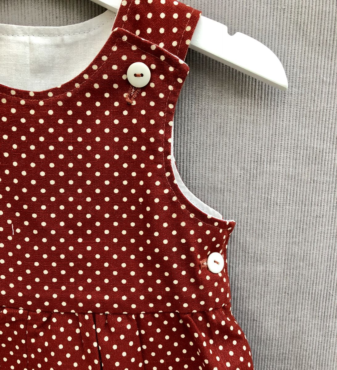 Baby, toddler shortalls - dark copper/cream polka dots - product images  of