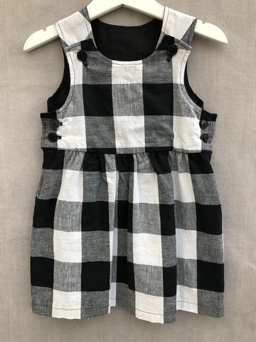 Pinafore,dress,,large,gingham,print,Gingham, Black and white, large gingham, pinafore dress, toddler dress, cotton dress, monochrome