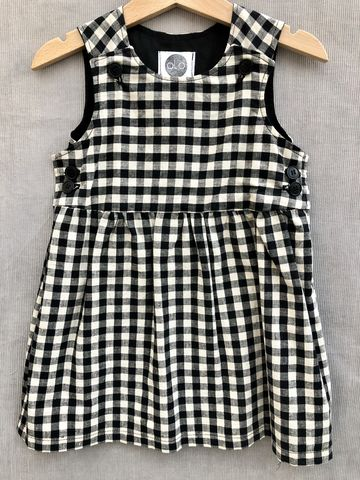 Pinafore,dress,,black/stone,gingham,print,Gingham, Black and stone, large gingham, pinafore dress, toddler dress, cotton dress, monochrome