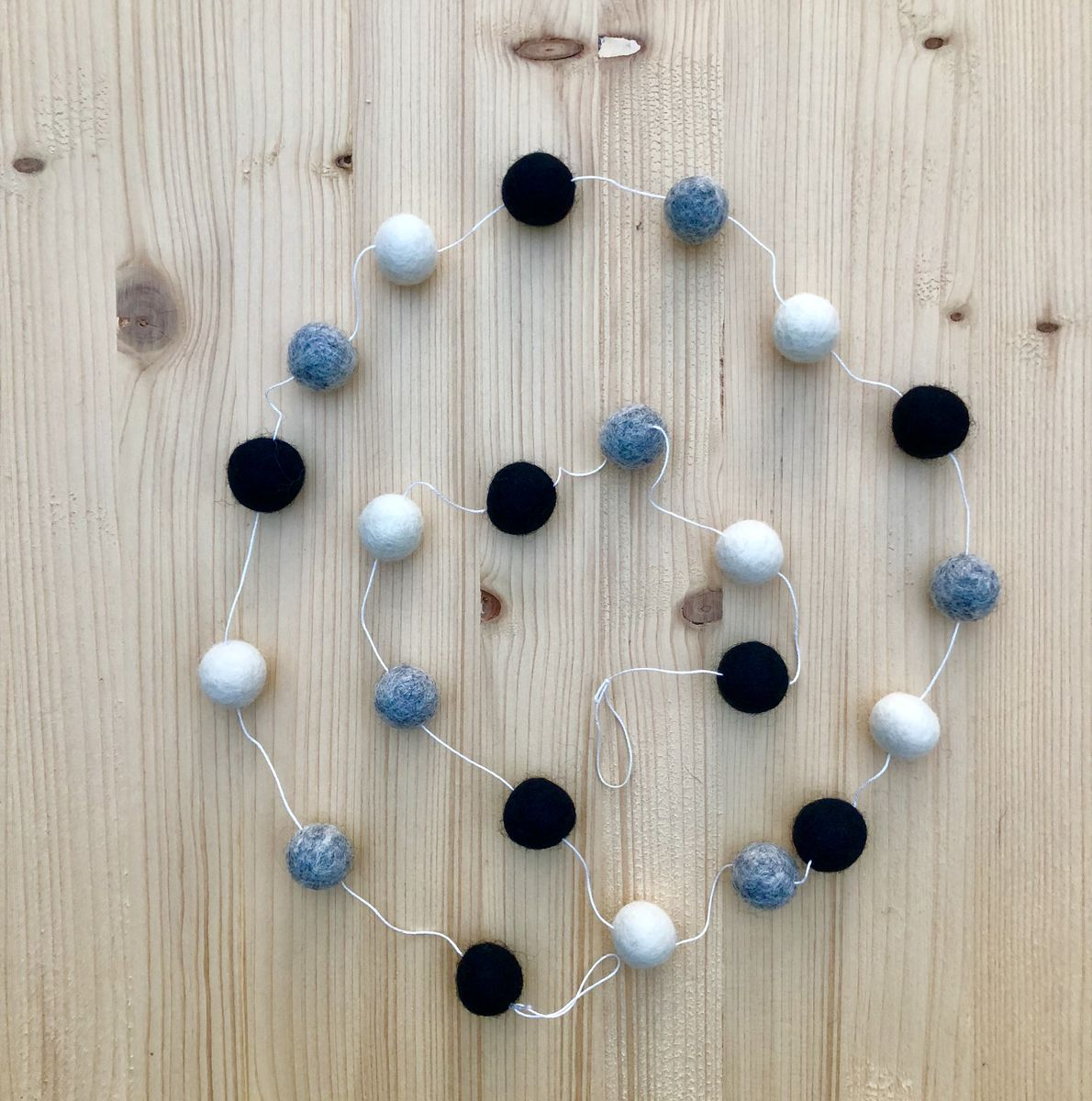 Wool felt ball garland - black, grey and cream - product images  of
