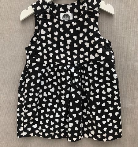 Pinafore,dress,,black,with,white,hearts,Valentine, Black and white, cotton print, pinafore dress, toddler dress, cotton dress, monochrome