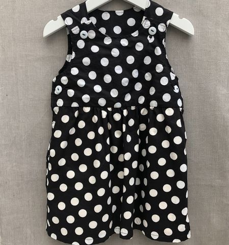 Pinafore,dress,,black,with,white,spots,Valentine, Black and white, cotton print, pinafore dress, toddler dress, cotton dress, monochrome