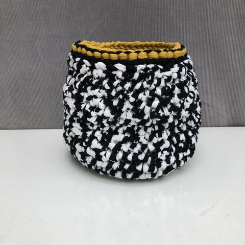 Black,,white,and,mustard,storage,basket,Storage basket, black, white, mustard, plant pot holder, pot decor, pot cover, contemporary, interior decor, storage solution