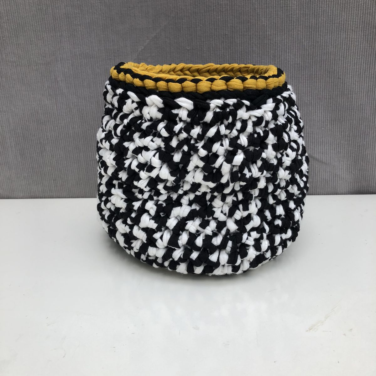 Black, white and mustard storage basket  - product images  of