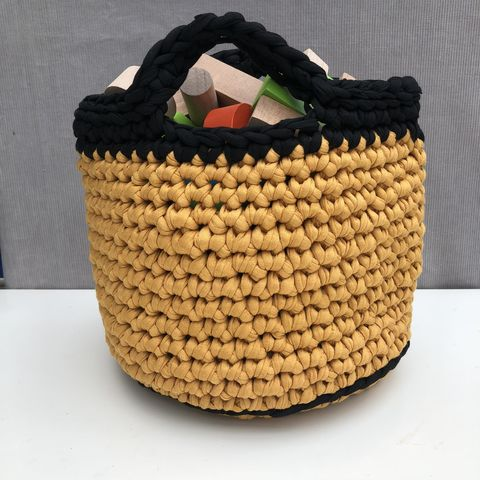 Black,and,mustard,storage,bag,Storage basket, black, mustard, plant pot holder, pot decor, pot cover, contemporary, interior decor, storage solution