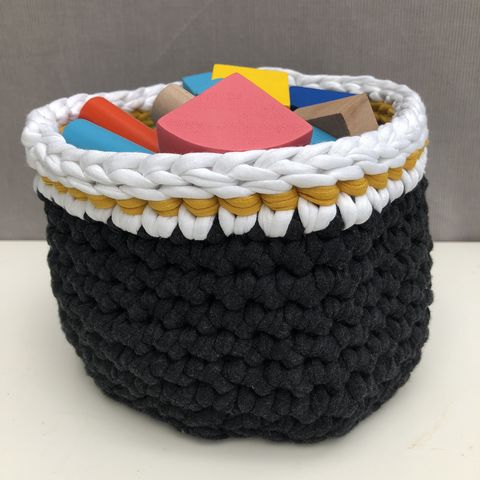 Storage,basket,-,mustard/cream,stripes,storage basket, crochet, white, black, mustard, textured, chunky, contemporary, gift