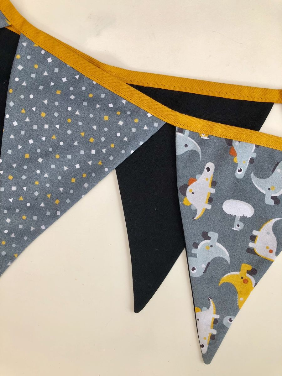 Dinosaur print bunting garland (mustard,grey,white) - product images  of