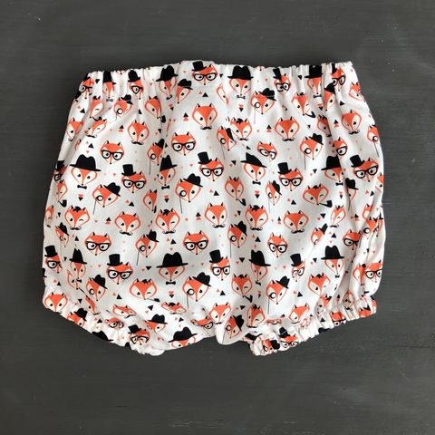 Bubble,leg,baby,,toddler,bloomers,-,monochrome,,fox,print,Bubble leg bloomers, bloomers, toddler bloomers, monochrome, fox, trendy baby, vintage style baby