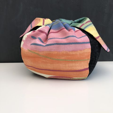 Japanese,style,cotton,knotted,fabric,bag,-,large,Japanese bag, gift bag, storage bag, nursery, home decor, cotton bag, handmade, knotted bag, multicoloured
