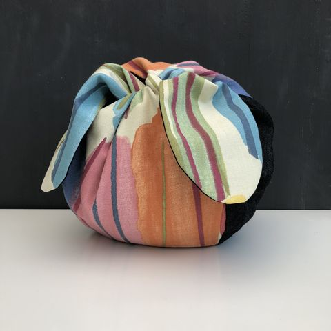 Japanese,style,cotton,knotted,fabric,bag,-,medium,Japanese bag, gift bag, storage bag, nursery, home decor, cotton bag, handmade, knotted bag, multicoloured