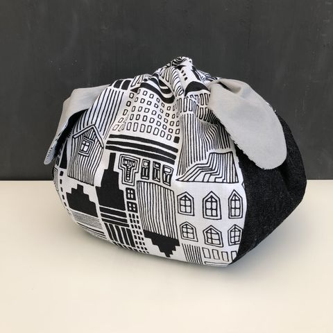 Japanese,style,cotton,knotted,fabric,bag,-,monochrome/grey,Japanese bag, gift bag, storage bag, nursery, home decor, cotton bag, handmade, knotted bag, monochrome