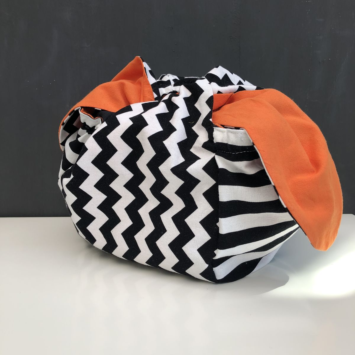 Japanese style cotton knotted fabric bag - monochrome/orange - product images  of