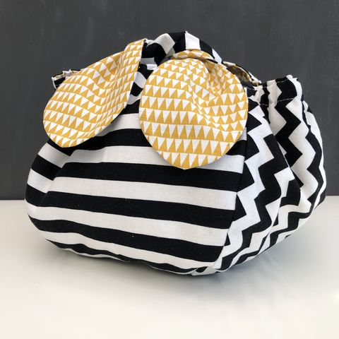 Japanese,style,cotton,knotted,fabric,bag,-,monochrome/mustard,Japanese bag, gift bag, storage bag, nursery, home decor, cotton bag, mustard, handmade, knotted bag, monochrome
