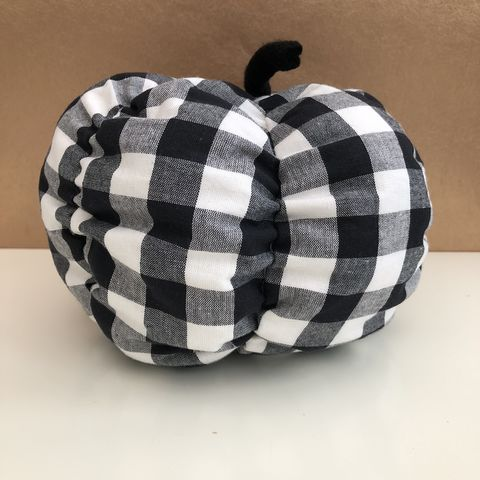 Gingham,fabric,pumpkin,-,monochrome,Pumpkin, decorative pumpkin, patterned pumpkin, monochrome, table decoration, autumn decor, fall decor, Halloween, wedding decoration,