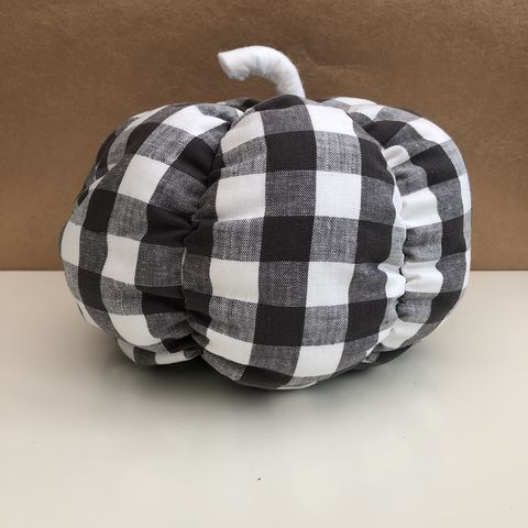 Gingham,fabric,pumpkin,-,dark,grey/white,Pumpkin, decorative pumpkin, patterned pumpkin, orange, table decoration, autumn decor, fall decor, Halloween, wedding decoration,