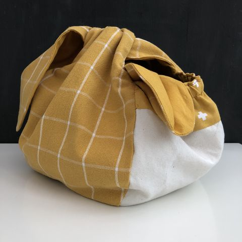 Japanese,style,cotton,knotted,fabric,bag,-,mustard,Japanese bag, gift bag, storage bag, nursery, home decor, cotton bag, handmade, knotted bag, mustard