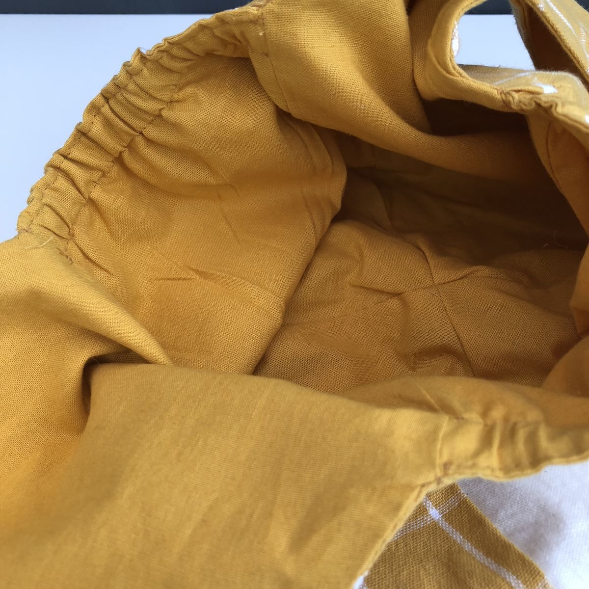 Japanese style cotton knotted fabric bag - mustard - product images  of