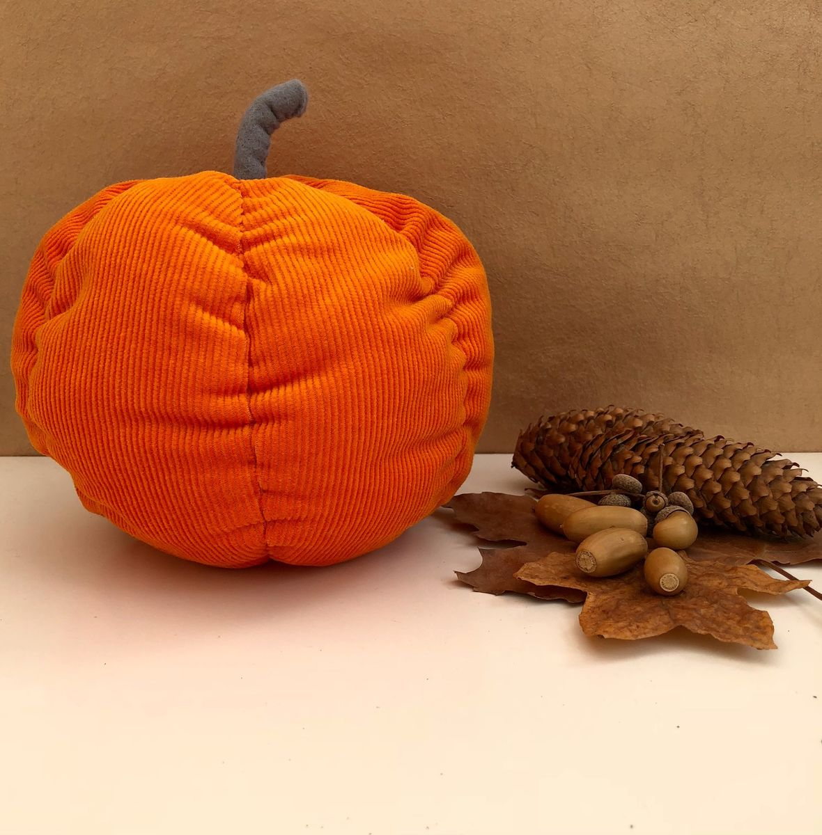 Decorative fabric pumpkin - orange - product images  of