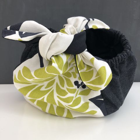 Japanese,style,cotton,knotted,fabric,bag,-,stylised,flower,print,Japanese bag, gift bag, storage bag, nursery, home decor, cotton bag, handmade, knotted bag, monochrome