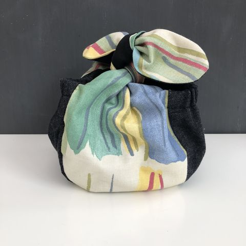Japanese,style,cotton,knotted,fabric,bag,-,small,Japanese bag, gift bag, storage bag, nursery, home decor, cotton bag, handmade, knotted bag, multicoloured