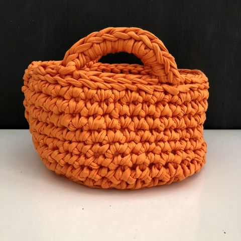 Chunky,stitched,orange,storage,basket,Storage basket, project bag, baby shower gift, eco, recycled, orange, gift basket, contemporary storage, nursery storage, monochrome, chunky basket, home storage