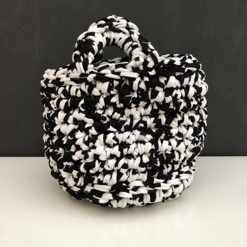 Chunky,stitched,black/white,storage,basket,Storage basket, project bag, baby shower gift, eco, recycled, orange, gift basket, contemporary storage, nursery storage, monochrome, chunky basket, home storage