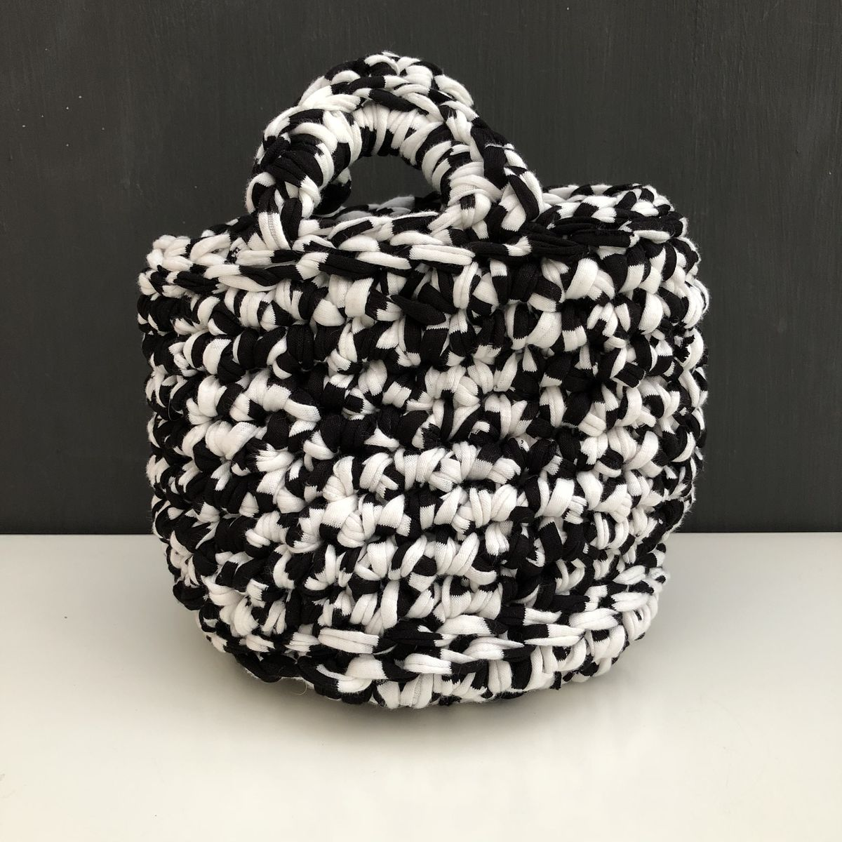 Chunky stitched black/white storage basket - product images  of
