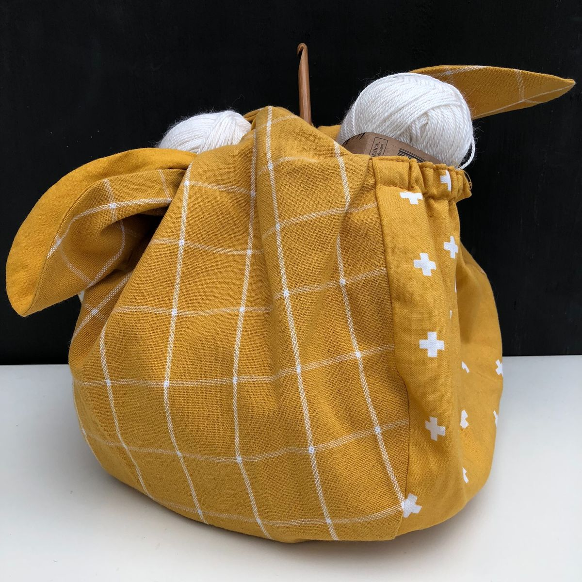 Japanese style cotton knotted fabric bag - mustard/cream - product images  of