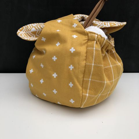 Japanese,style,cotton,knotted,fabric,bag,-,mustard/cream,Japanese bag, gift bag, storage bag, nursery, home decor, cotton bag, handmade, mustard, knotted bag, monochrome