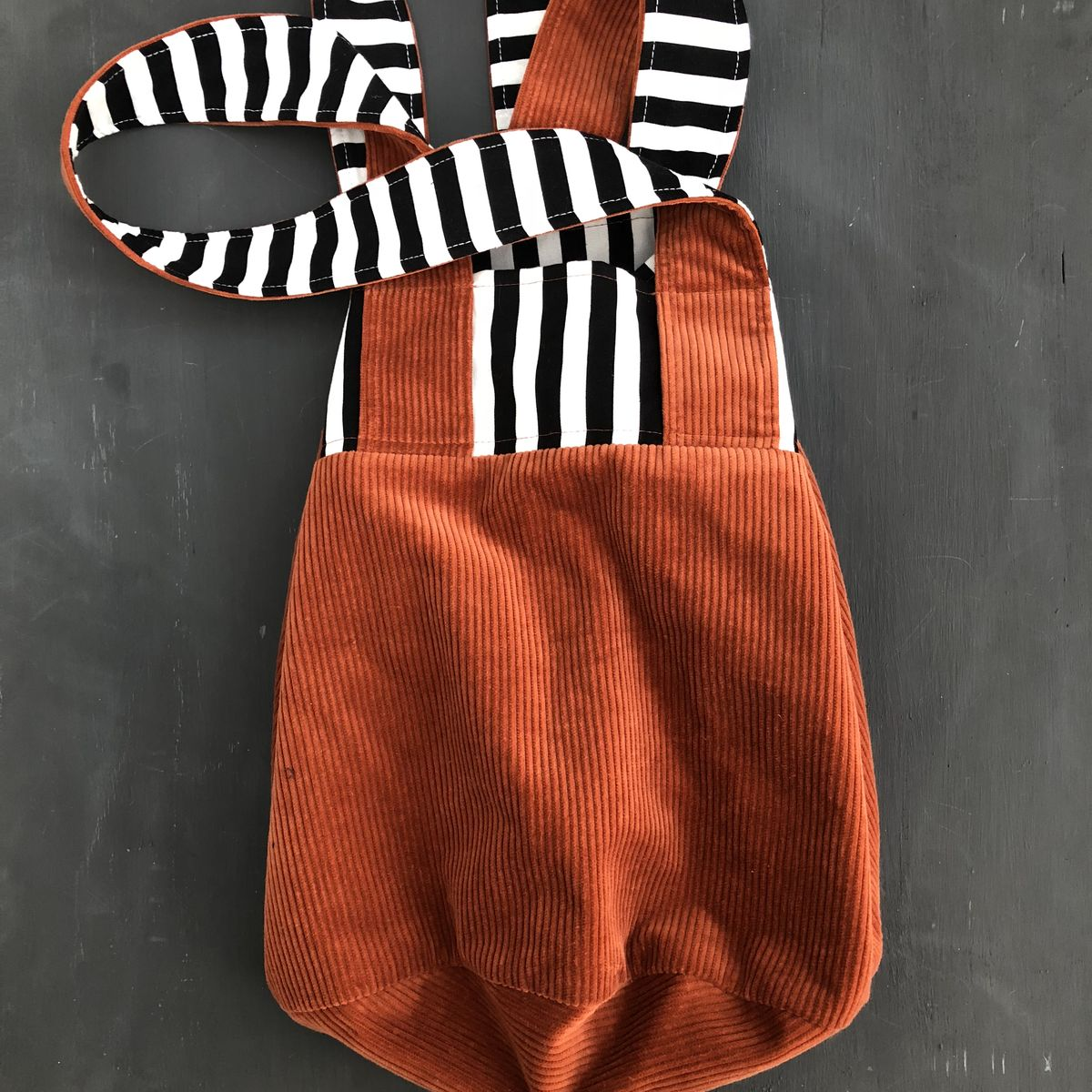 Lined tote shopping bag in copper corduroy with monochrome striped detail - product images  of