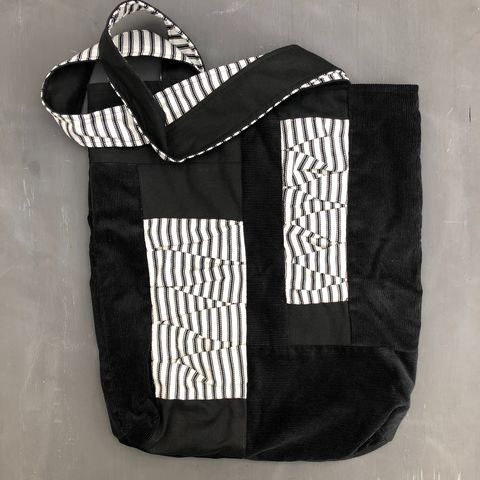 Monochrome,tote,bag,Tote bag, shopping bag, shopper, monochrome, stripes, black and white, pleats, contemporary bag, Japanese inspired, minimalist