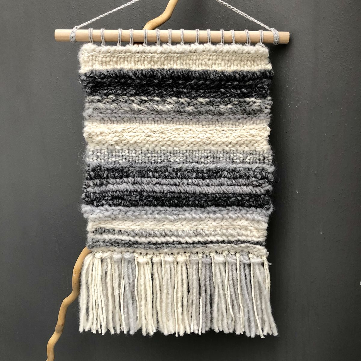 Woven abstract wall hanging, striped wall art, neutral colours - product images  of