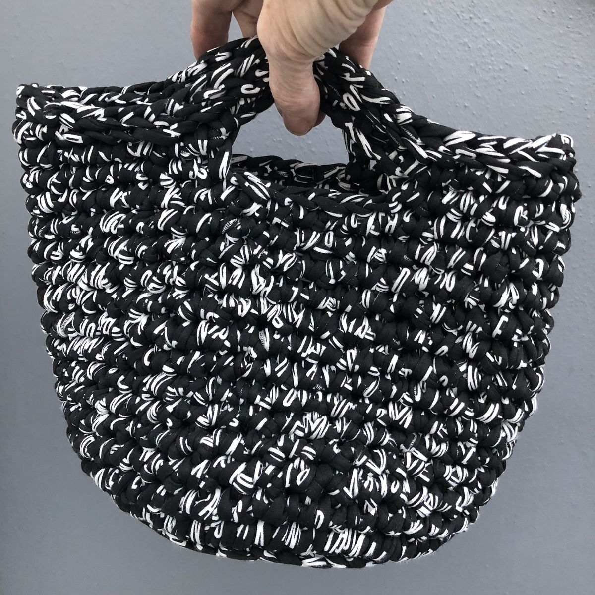 Chunky stitched black/white storage bag - product images  of