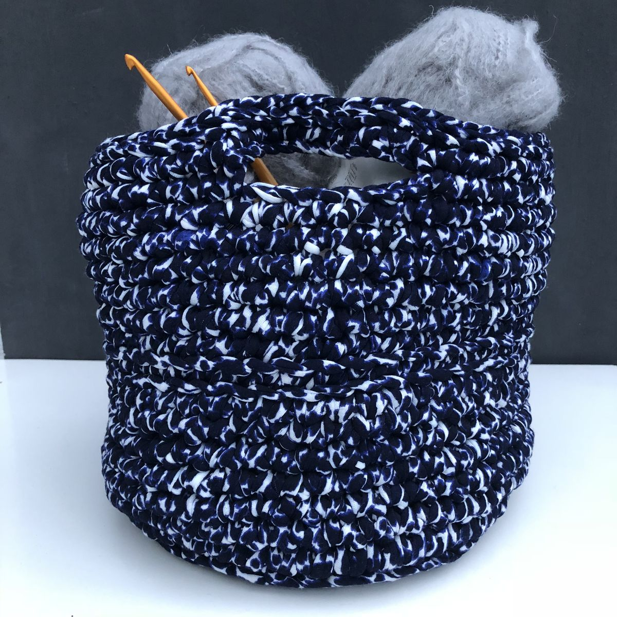 Chunky stitched blues/white storage bag - product images  of