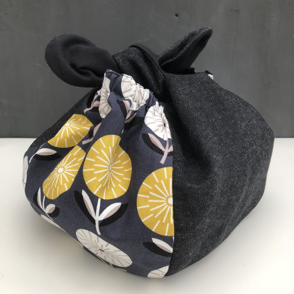 Japanese style cotton knotted fabric bag - monochrome/mustard - product images  of